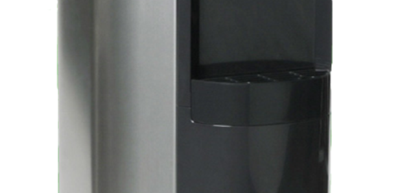 Close up image of a drip tray on a stainless steel standing cooler.